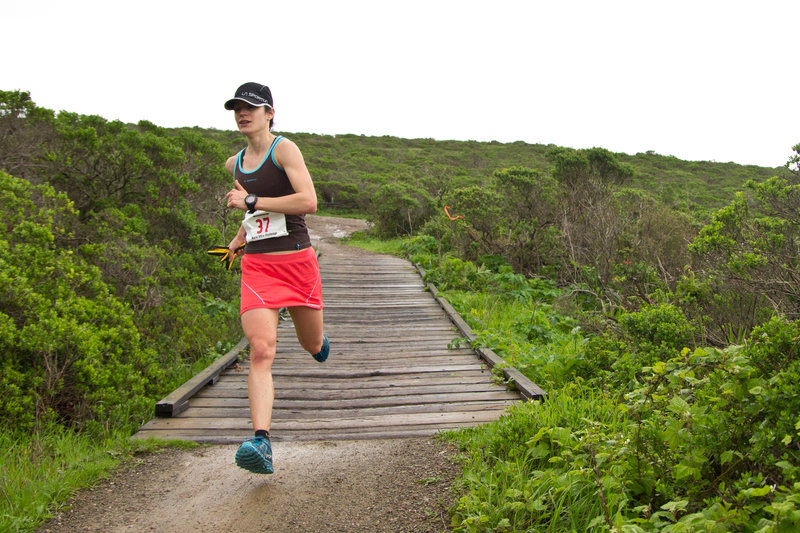 Crossing the bridge at the intersection of Old Springs and Miwok during the Marin Ultra Challenge 25k.