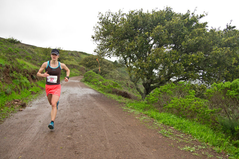 Cresting the Marincello climb during the Marin Ultra Challenge 25k.