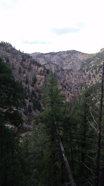 View of Beaver Brook Canyon with Clear Creek Canyon in the background.