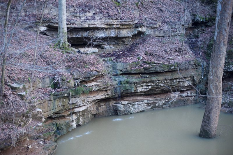 The River Styx comes out of the rocks at the cave exit. The water was high this year.