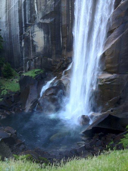 "Majestic Vernal Falls crashing on the rocks below creating the mist of namesake  ""Mist Trail."""