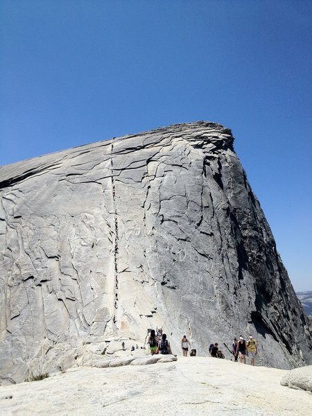 The ant trail up Half Dome!