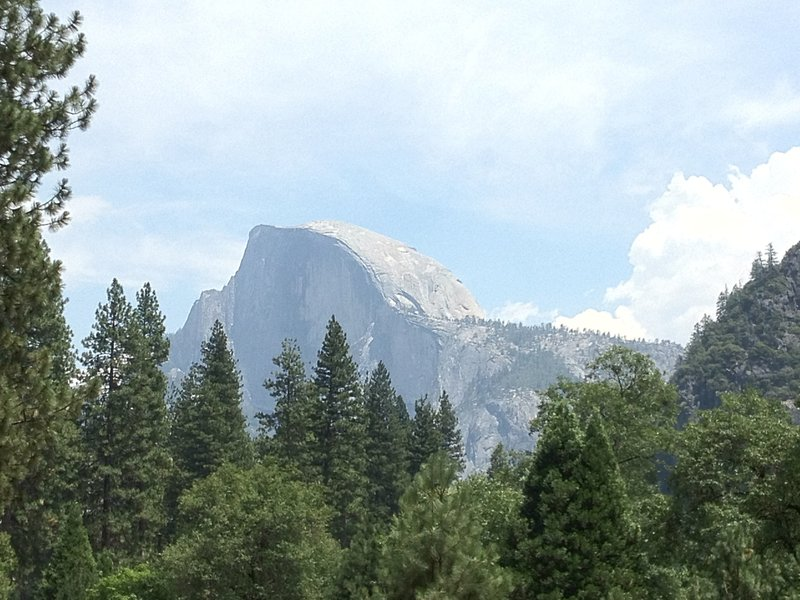 A famous view of Half Dome from the valley floor.