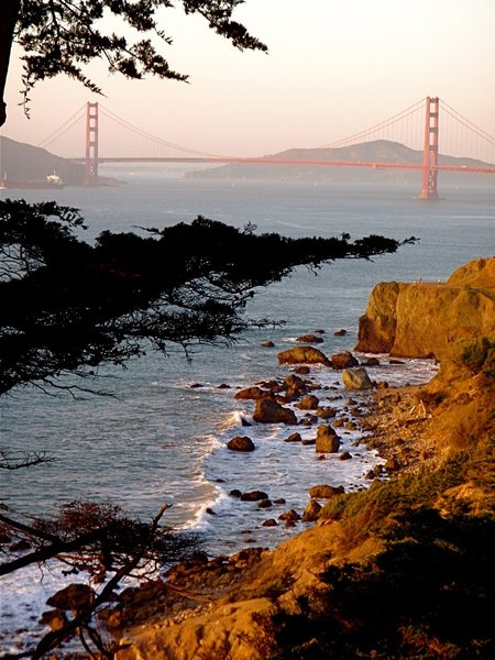 The Golden Gate Bridge is on display from the Coastal Trail.