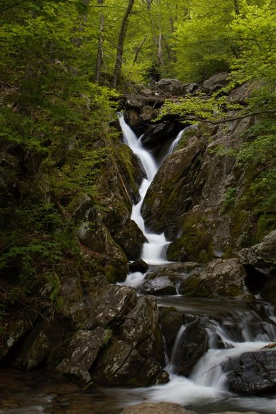 A view of the waterfall at the bottom of the Dark Hollow Trail.