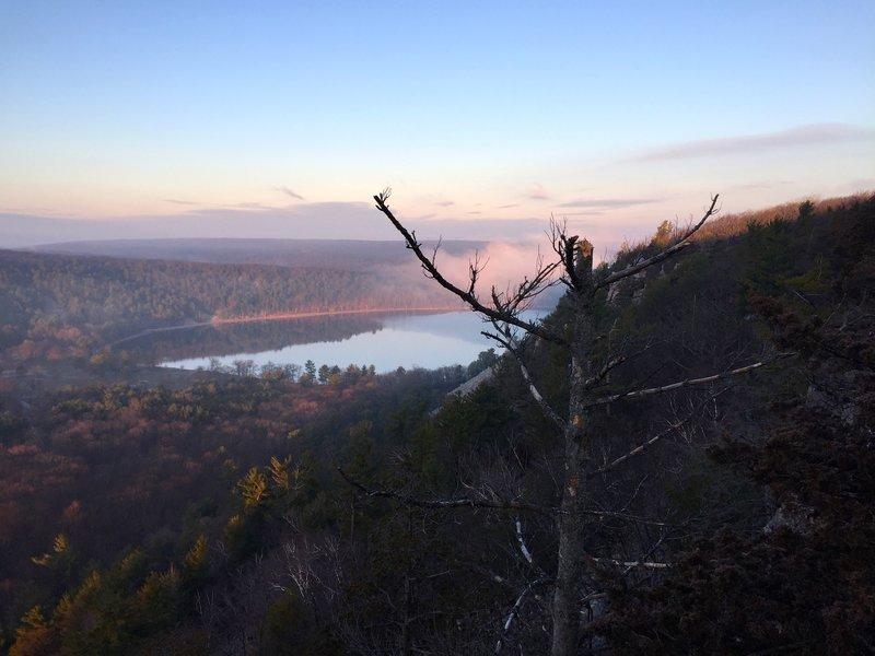 Devil's Lake at sunrise.