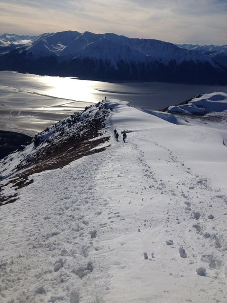 Heading down from top of Bird Ridge Trail, Turnagain Arm in background.