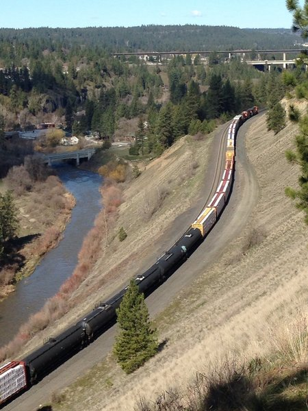 It's not uncommon to see a train passing through the valley below.