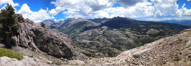 View east across the North Fork San Joaquin River canyon of the Ritter Range, Minarets and the High Sierra beyond.