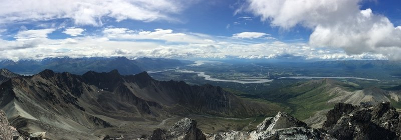Panorama from the Matanuska Peak summit facing southwest.