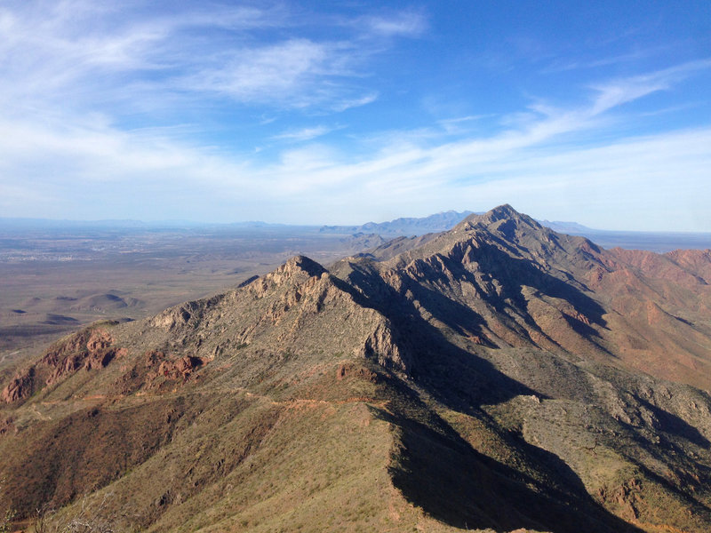 The view north from North Franklin Ridgeline. Beyond the Franklin Mountains in the foreground are the Organs, just east of Las Cruces. The Robledo range is visible in the distance. Views from here can reach for over a hundred miles.