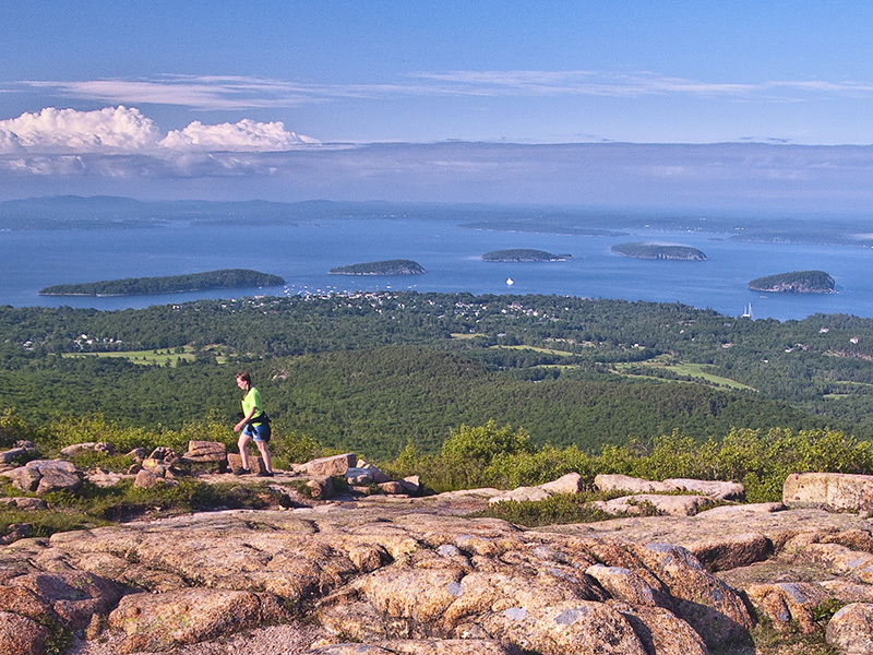 View of Bar Harbor and Porcupine Islands from Cadillac Mountain.