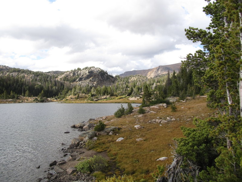 Looking back up the canyon to the Beartooth Plateau.