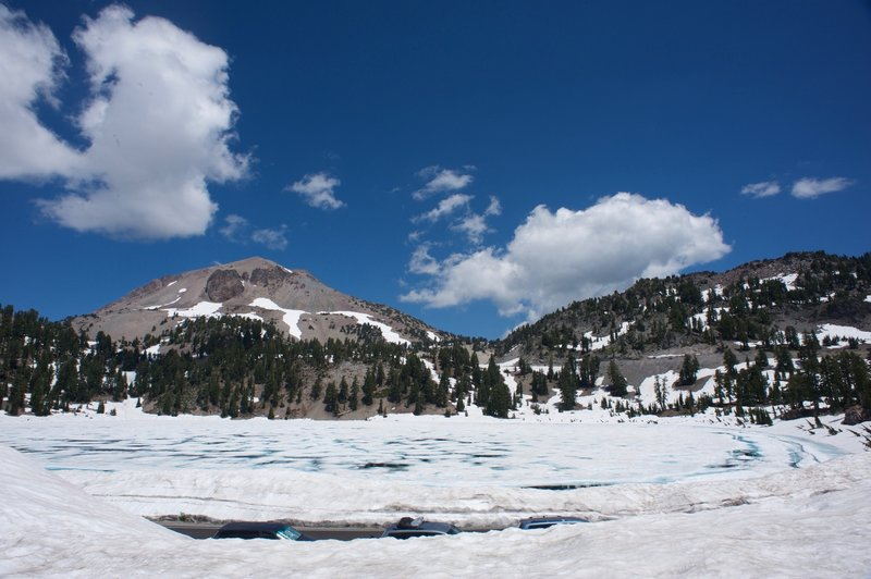 Looking back at Lake Helen. Even in the summer, it can be covered in snow and ice.