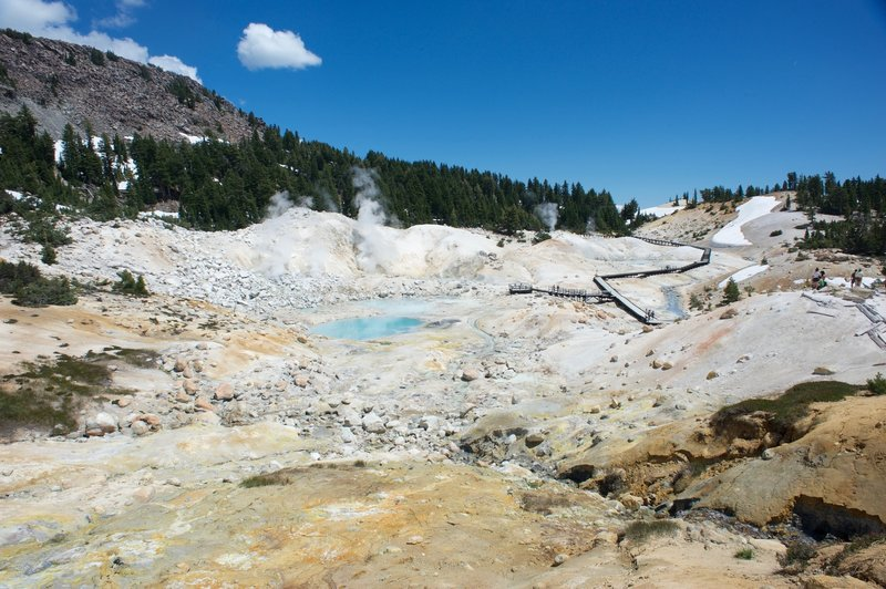 A look at the boardwalk as it passes through Bumpass Hell.