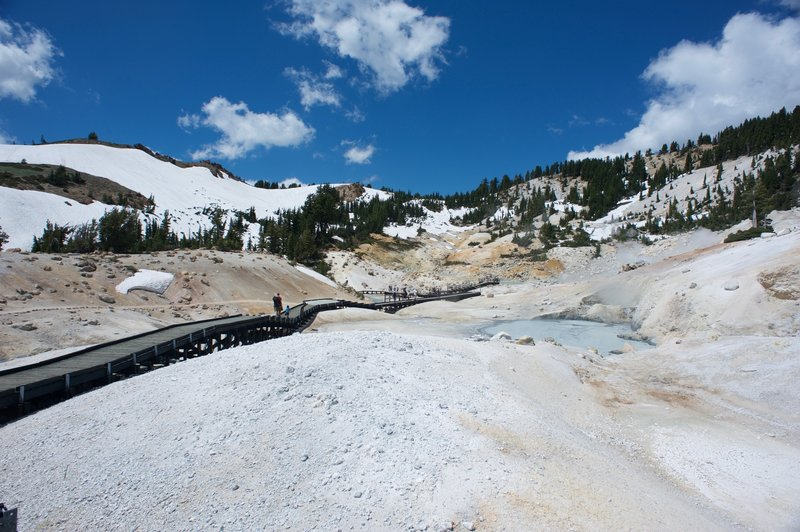The boardwalk that works its way through Bumpass Hell. Make sure the kids stay on it as the ground can give way to scalding water underneath.