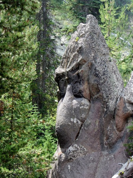 Turtle Rock - the site of the 1908 stagecoach holdup, the largest in history. The bandit, who was never caught, robbed 17 stagecoaches, one after the other, taking more than $2,000 from 174 Yellowstone tourists.