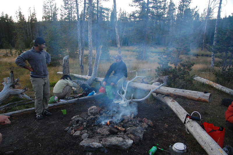 Camping at Firehole Springs.