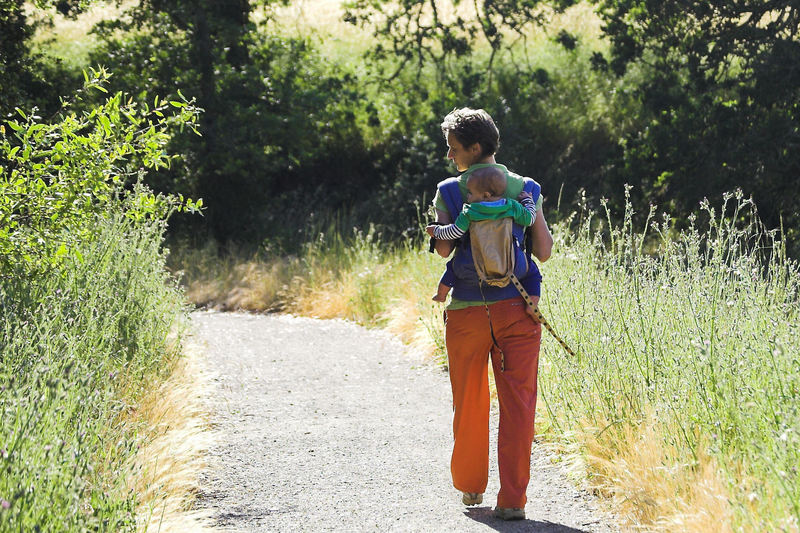 Hiking along the Paseo del Roble Trail in Arastradero Preserve.