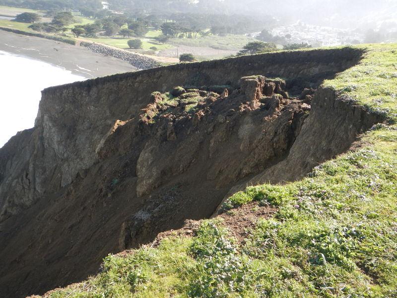 Live geology, landslide to ocean.