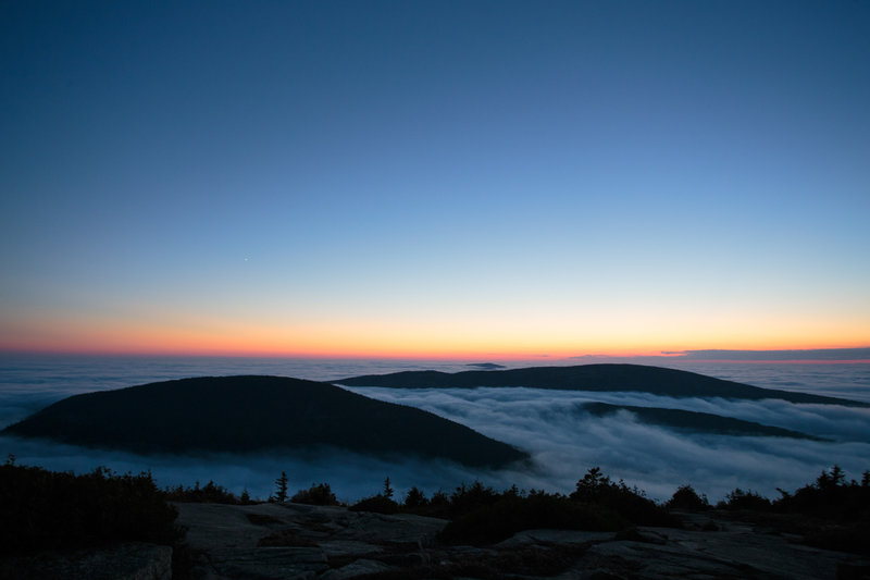 Acadia National Park after the sunset.