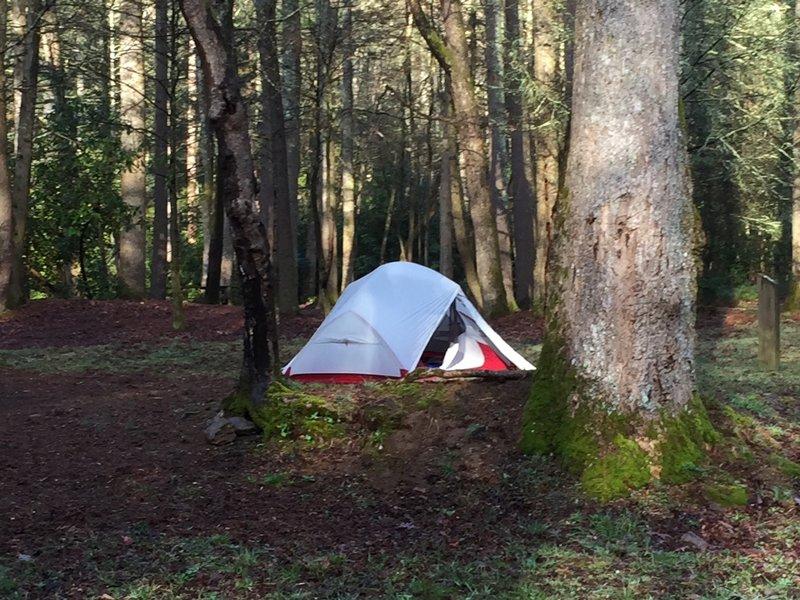 Upper Falls backpacking Tent Camp