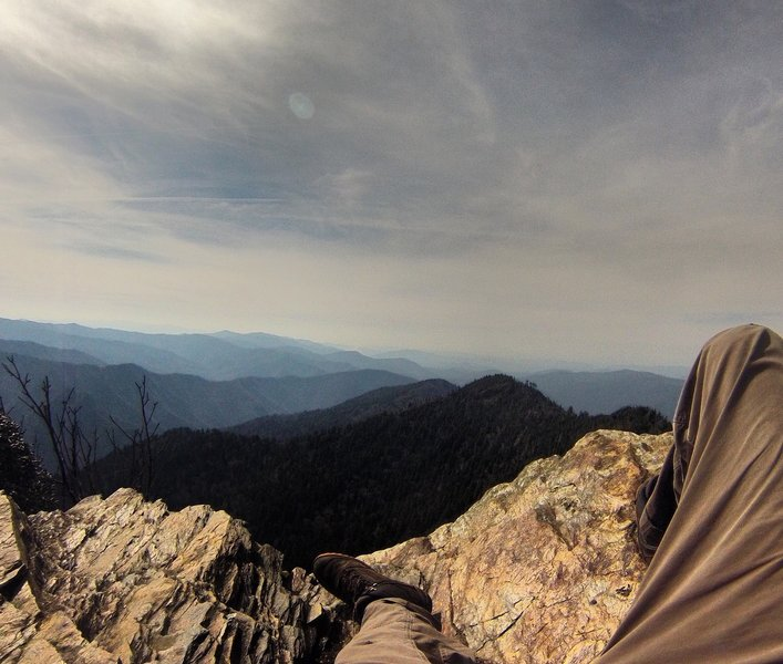 Resting the legs after a long hike up. This view from atop Mt. Leconte is known as Cliff Top.
