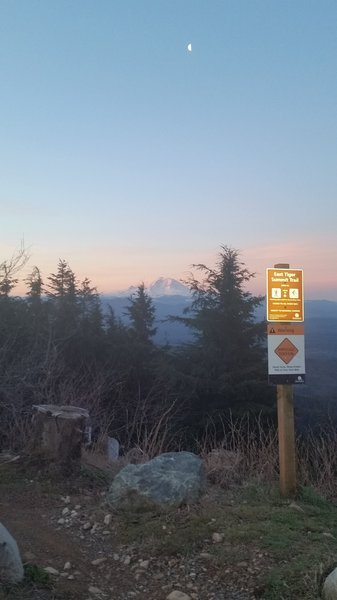 The moon over Rainier from the top of East Tiger Summit Trail.