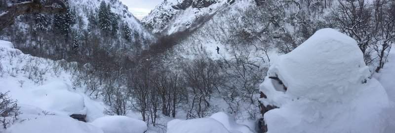 Going back down Bair Canyon in the winter