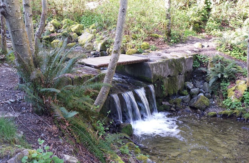 There are 3 places with small bridges where you can cross to the MUCH steeper south side.