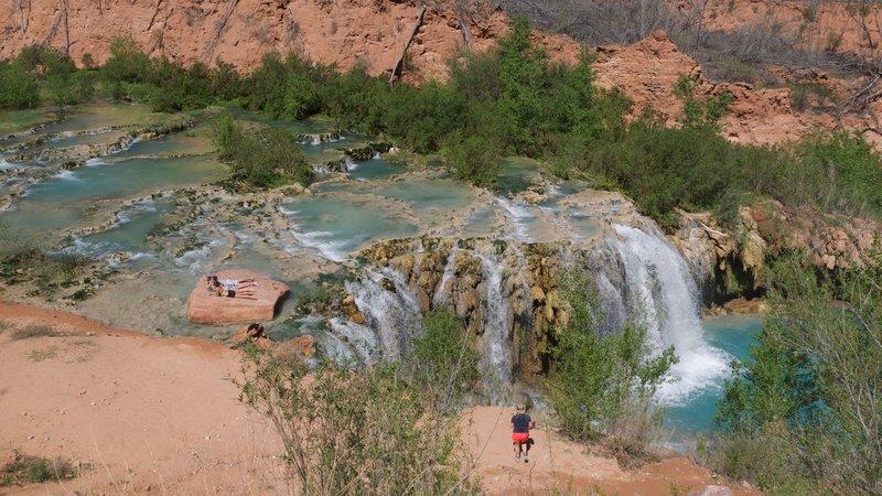 Navajo Falls, located in between Supai, AZ and the Havasupai Campground.