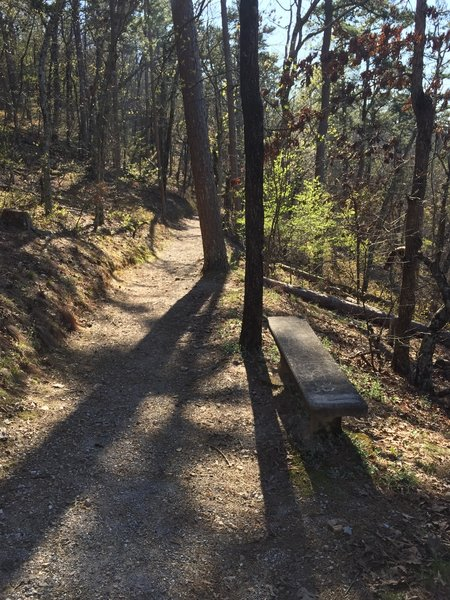 There are several places along the trail to stop and take a break.