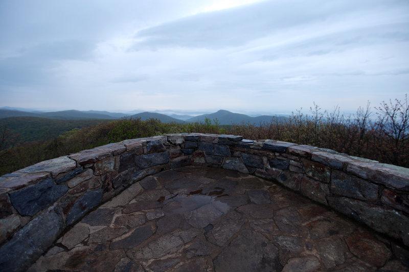 The observation platform on Hawksbill Mountain, the highest point in Shenandoah National Park, elevation 4,050 feet.