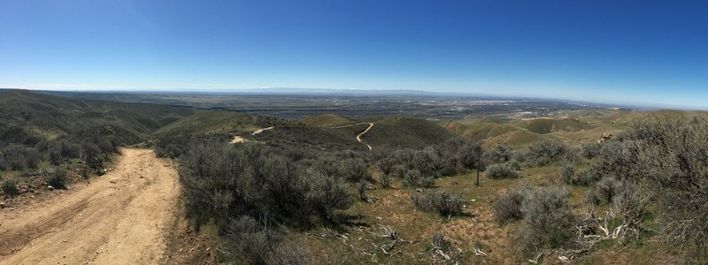Looking down at Boise and the Owyhee Mountains after making the turn on the Highland Valley-Cobb Loop.