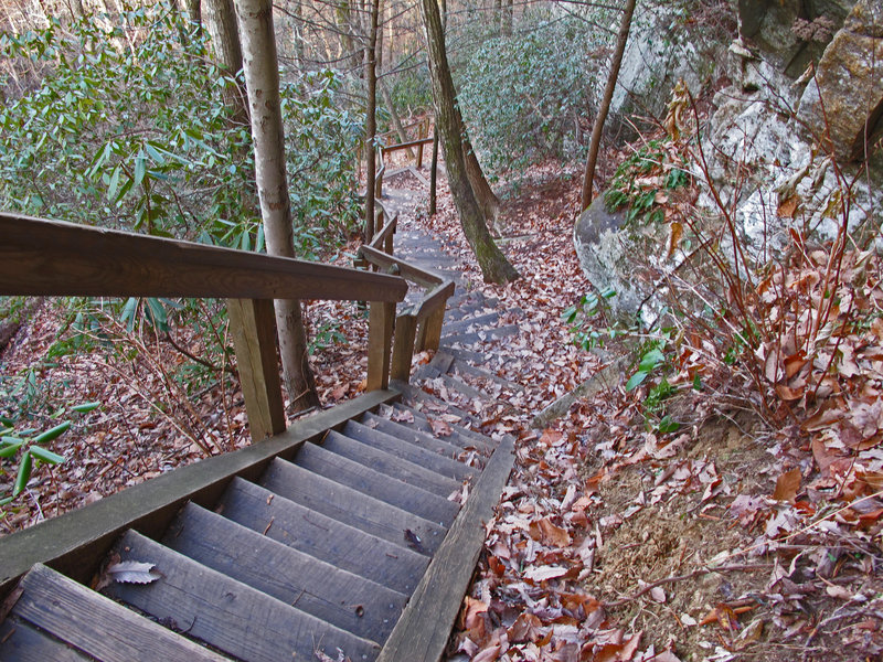 Stairs are common on the High Shoals Falls Loop.
