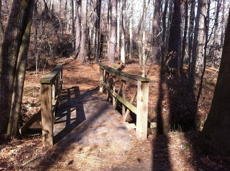 A wooden bridge along the trail at Island Ford.