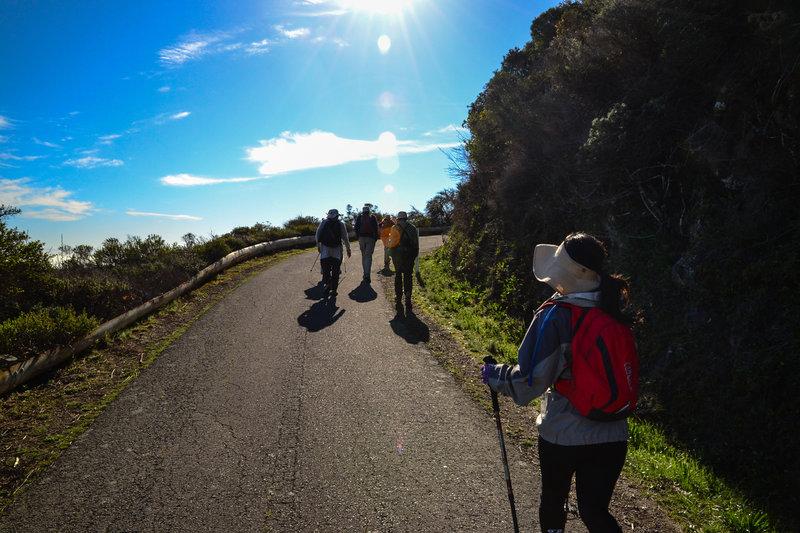 Making the trek up Sneath Lane.