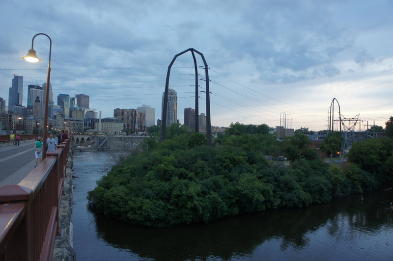 The Minneapolls terminus at Stone Arch Bridge.