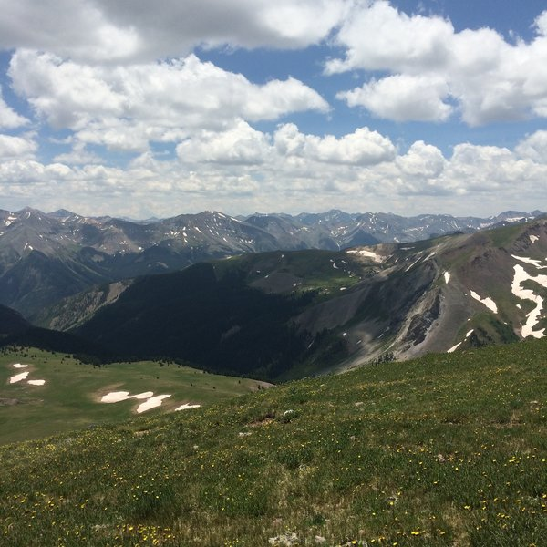 Scenic vista visible from the Uncompahgre Peak Trail, late July.
