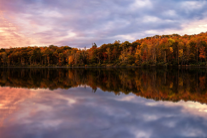 Autumn sunrise over Trout Lake in Moses H. Cone Memorial Park on MST Segment 5. Photo by Victor Ellison.