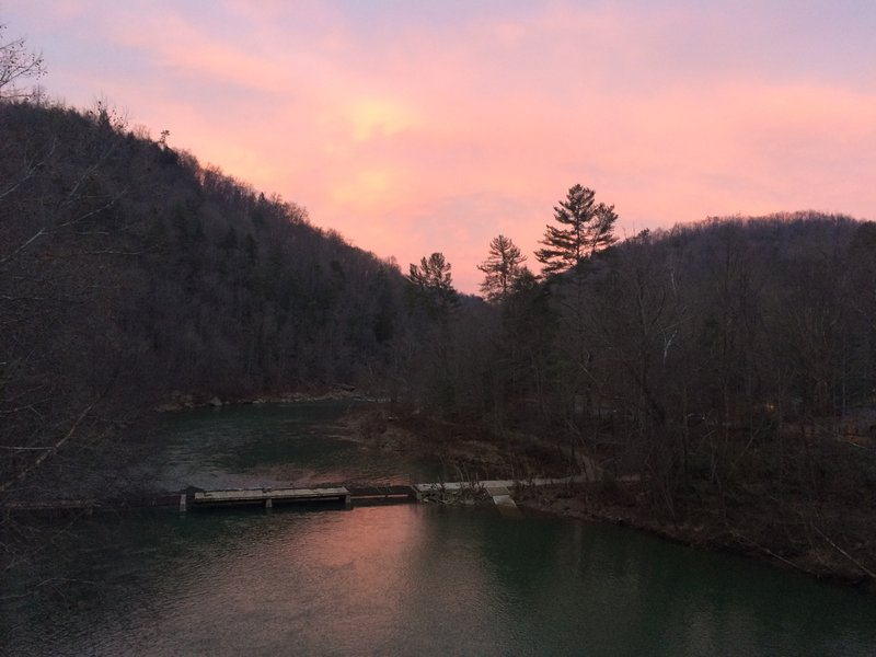 Winter Evening Skies - The scene at the end of the Angels Falls Trail of Big South Fork River in Big South Fork National River and Recreation Area.