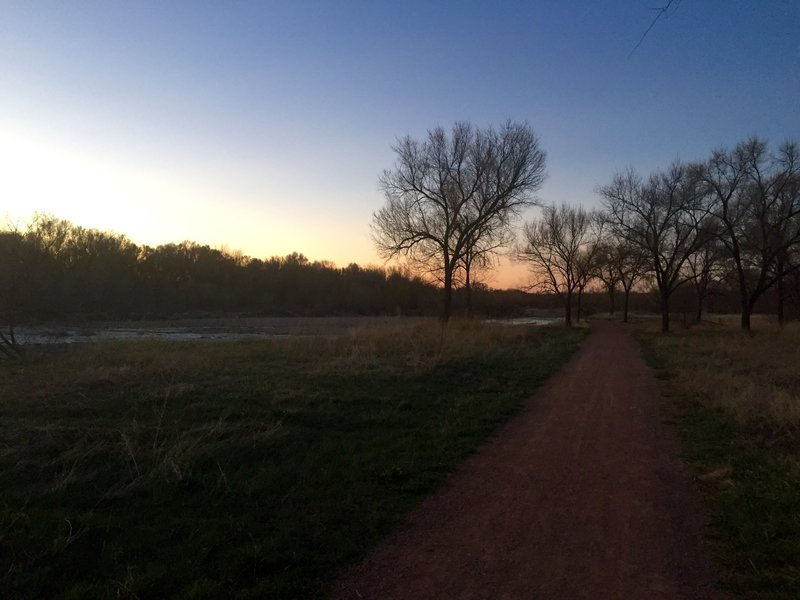 The sun is just starting to rise during an early morning along side Fountain Creek.