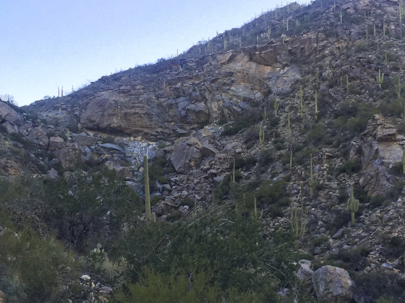 The rocky hillside of the Wild Burro Canyon.