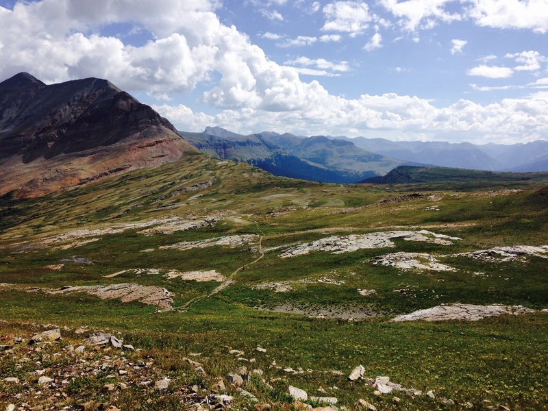 View from the top of the pass (high point) down to where you'll be heading.