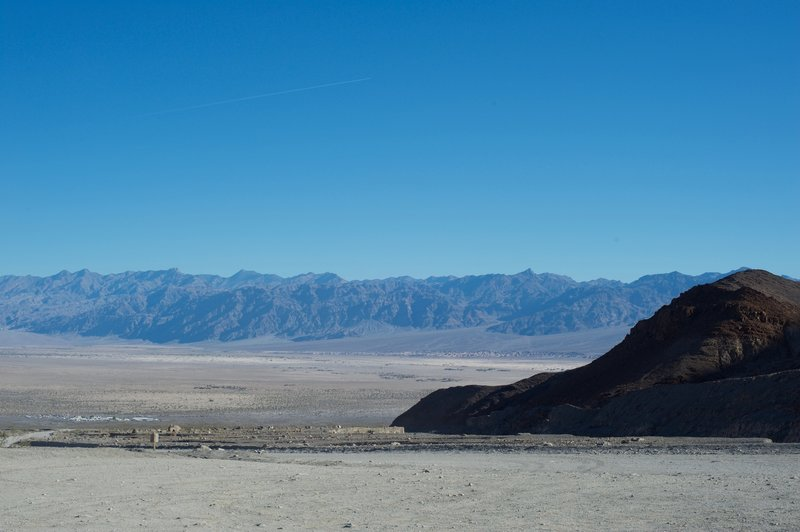 Emerging from the canyon, sweeping views of Death Valley and the Mesquite Sand Dunes (on the right in the distance) await.