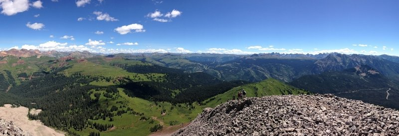 Panoramic view. On the right you are looking south, down valley towards Durango. The road cut you see is the road leading up to Coalbank.