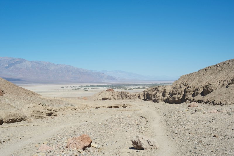 Looking back over your shoulder, you can get views of the Furnace Creek area (all the green).