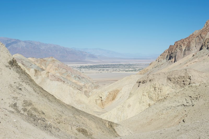 Looking down the canyon you just climbed, views of Furnace Creek and Death Valley come into view.