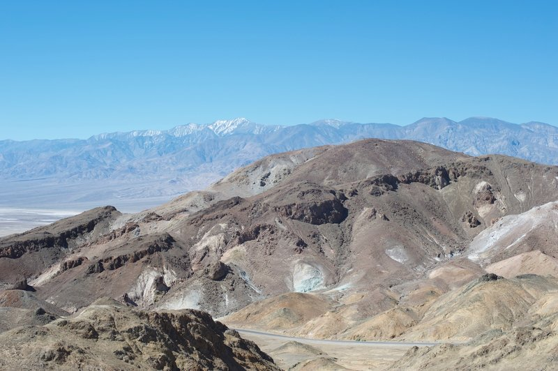Views of the surrounding mountains (snow capped in the early spring) and Artist Drive come into view at the top.