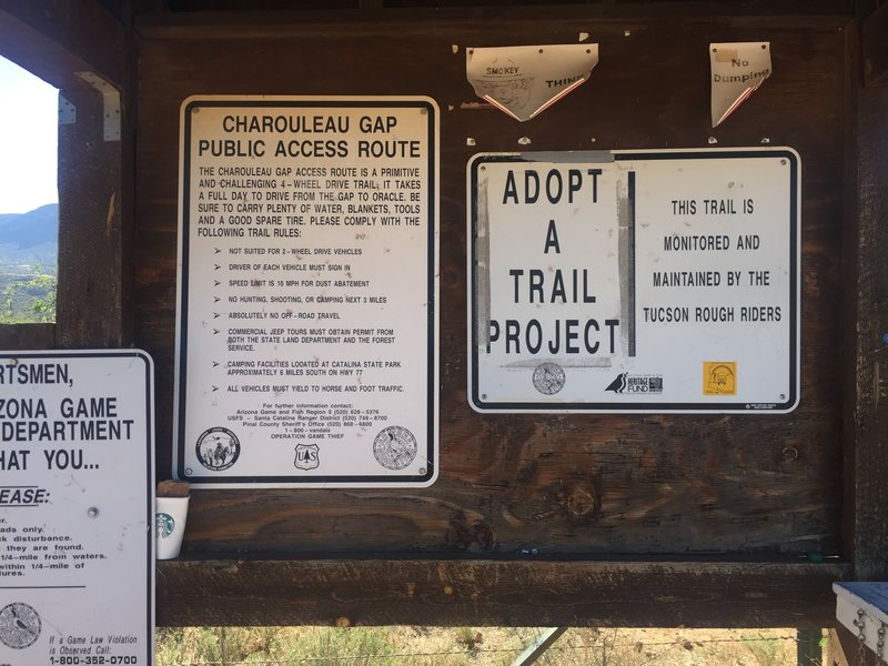 Here's the trailhead signage with good information and to let you know you're in the right place. Log book on the right.